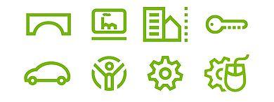 Piktogramme der Studiengänge des FB2, grüne Logos aus weißen Hintergrund